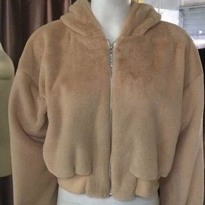 Jackets & Blazers - My Mum Made it Fluffy Hoodie Brown
